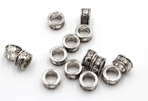 8mm large hole beads, hole size 5mm, sold as 10 pieces, antique silver charms, mixed metal, big hole bead, metal bead, large hole bead,