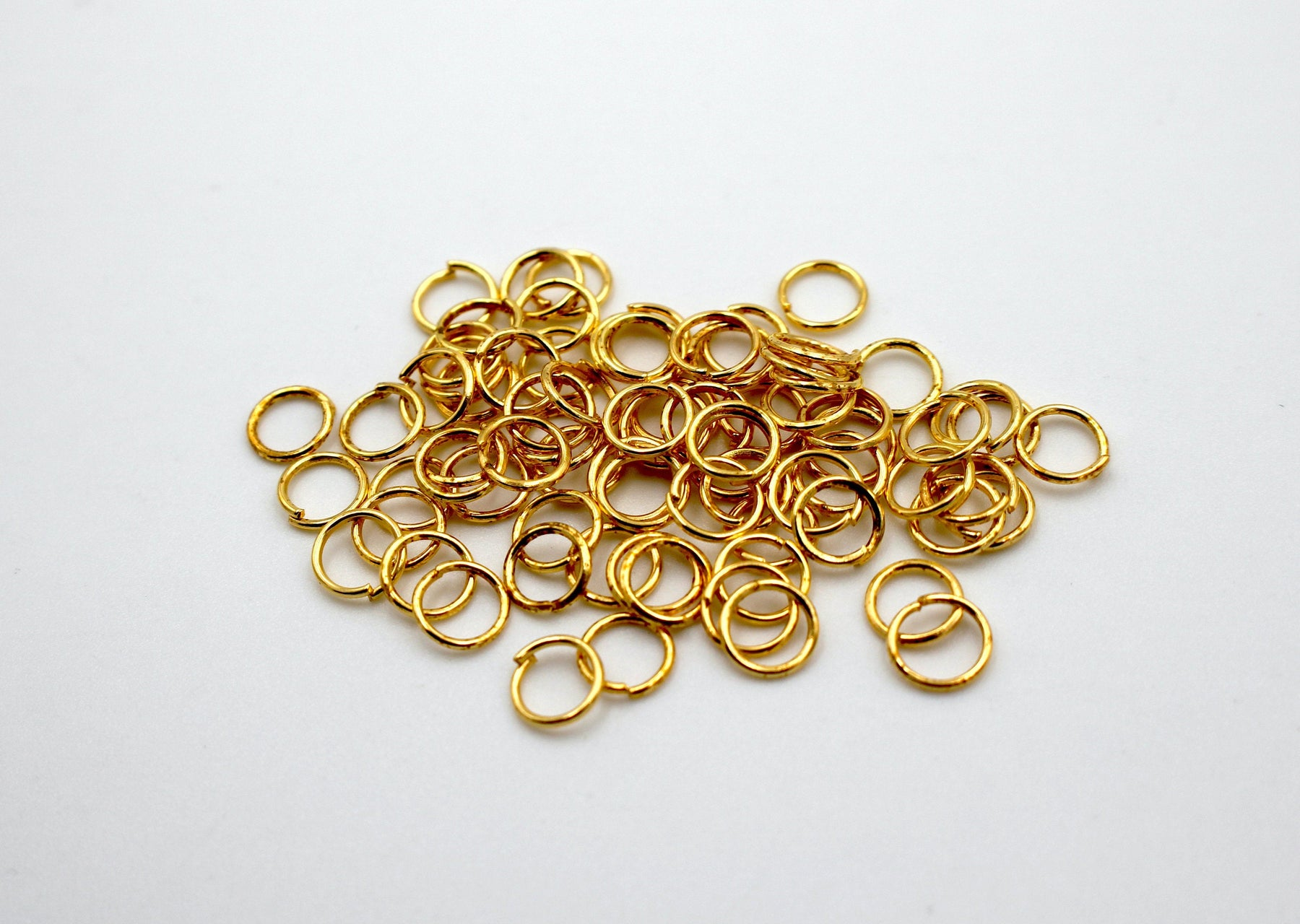 50 pieces, 6mm 24k shiny gold jump rings, open jump rings, gold connector, bulk gold jump rings,