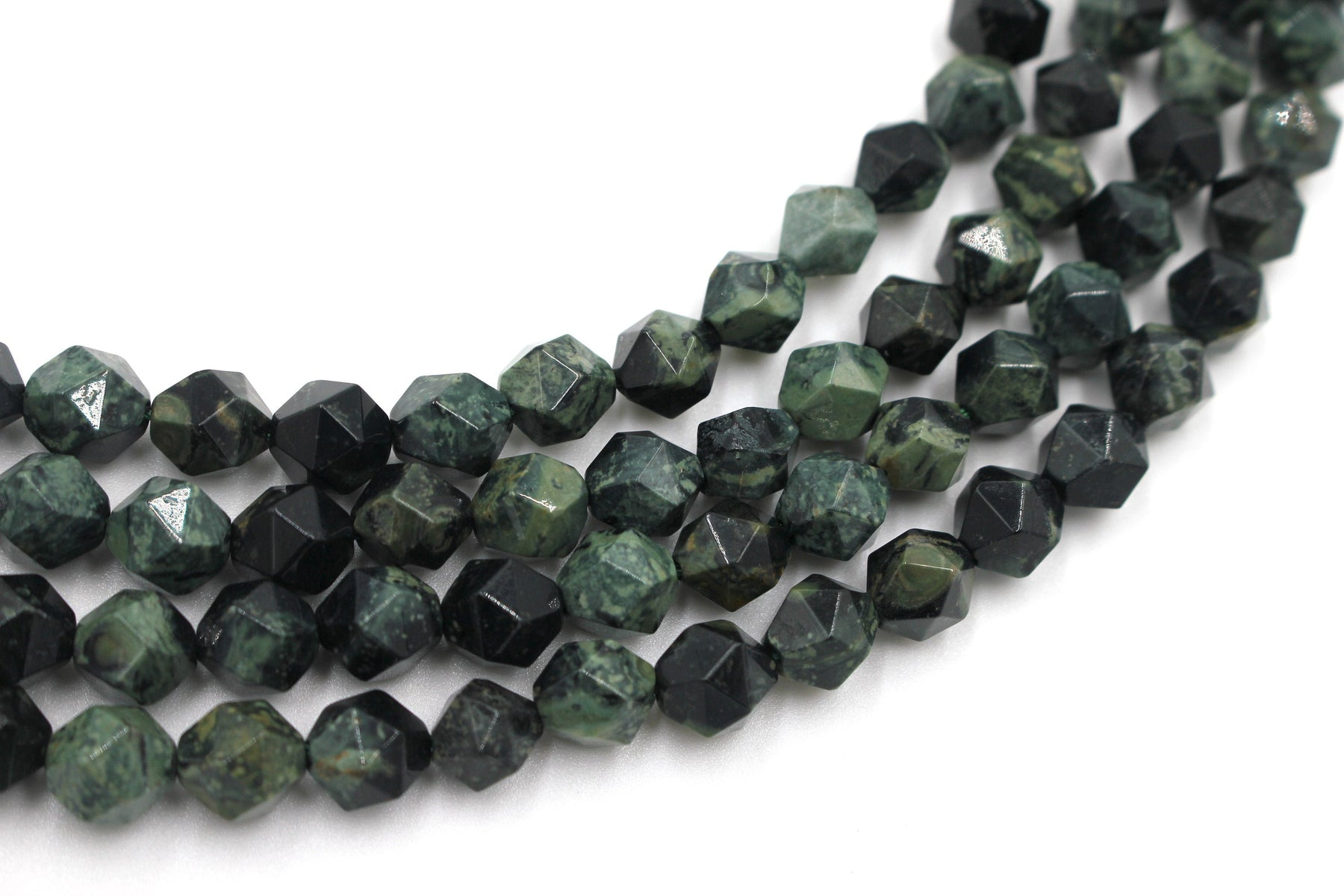 8mm green jasper, diamond beads, faceted beads, approx. 48 beads per strand.