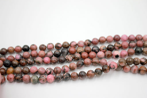 8mm black veined rhodonite gemstone beads
