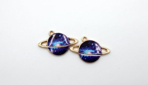 Blue Galaxy Planet Charm, gold charms, gold plated, mixed metal, 24mm x 16mm, hole 1.5mm, sold as 2 pieces.