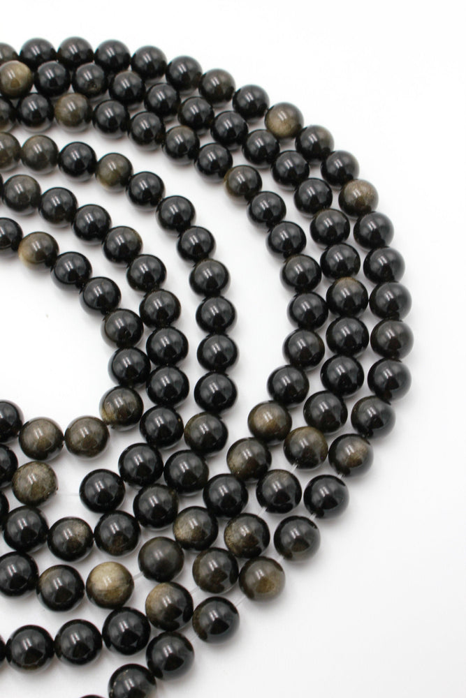 8mm black obsidian, glossy, 1 strand, 16 inches, approx. 48 beads.
