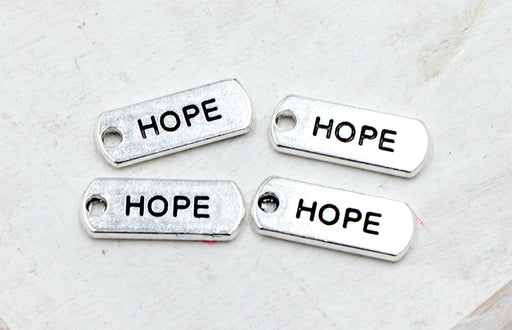 hope charm, rectangle charm, silver charms, antique silver, mixed metal, 21mm x 8mm, hole 1.5mm, sold as 5 pieces.