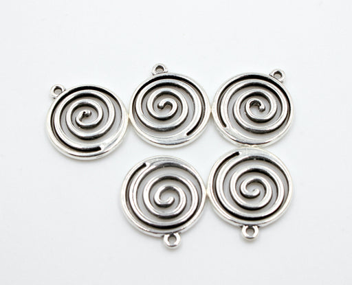 Silver Wave Spiral Charms, silver charms, antique silver, mixed metal, 19mm x 17mm, hole 1.5mm, sold as 5 pieces.