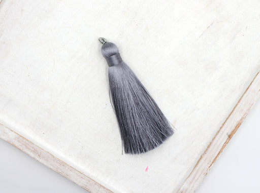 gray tassels, silky nylon, 3.5 inches, sold as 1 piece, silk tassel, custom tassel, grey tassel, jewelry tassel, custom tassel,