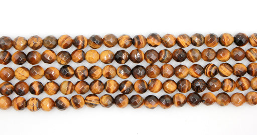 8mm yellow tiger eye, faceted, glossy, 1 strand, 16 inches, approx. 48 beads.