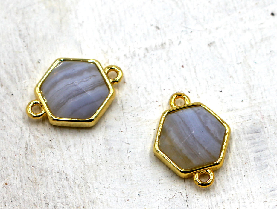 Blue Chalcedony Faceted Hexagon Brass Connector, 11mm × 12mm, hexagon charm, gold plated brass charm, sold as 1 charm.