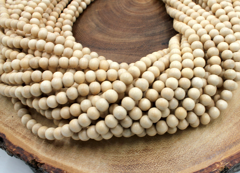 6mm white wood beads
