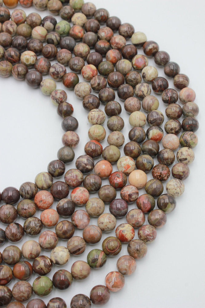 8mm rainforest jasper, glossy, 1 strand, 16 inches, approx. 48 beads.