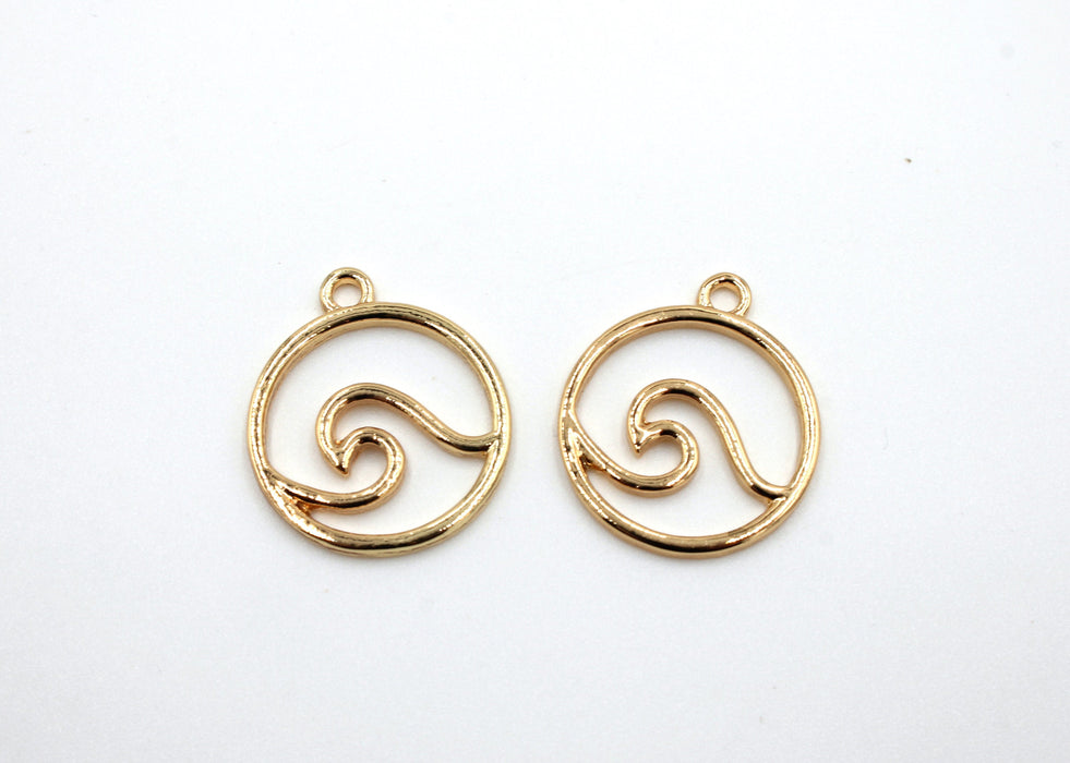 wave charm, ocean wave, gold charm, mixed metal, 24mm x 21mm, hole 1.5mm, sold as 2 pieces.