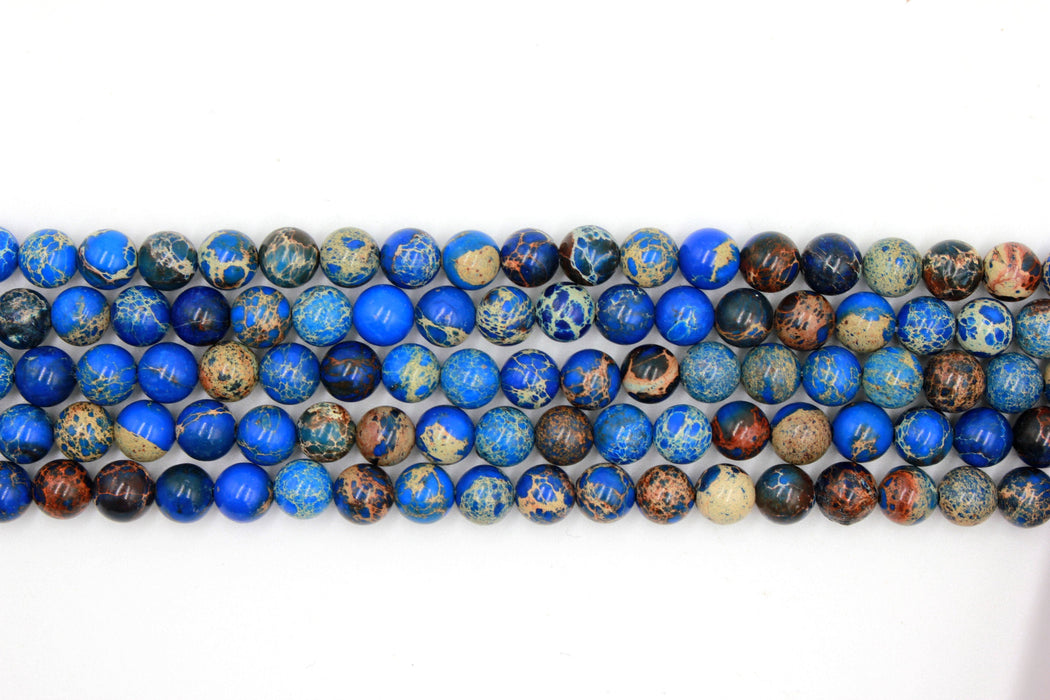 8mm dark blue impression jasper, glossy, 1 strand, 16 inches, approx. 48 beads.
