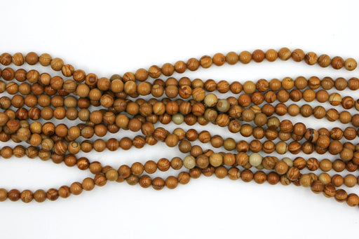 Yellow Wood Jasper Gemstone Beads, 6mm, Round