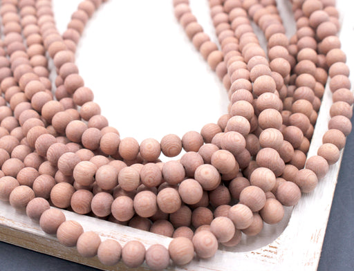 8mm raw rosewood beads, essential oil beads, 1 strand, 16 inches, approx. 48 beads.