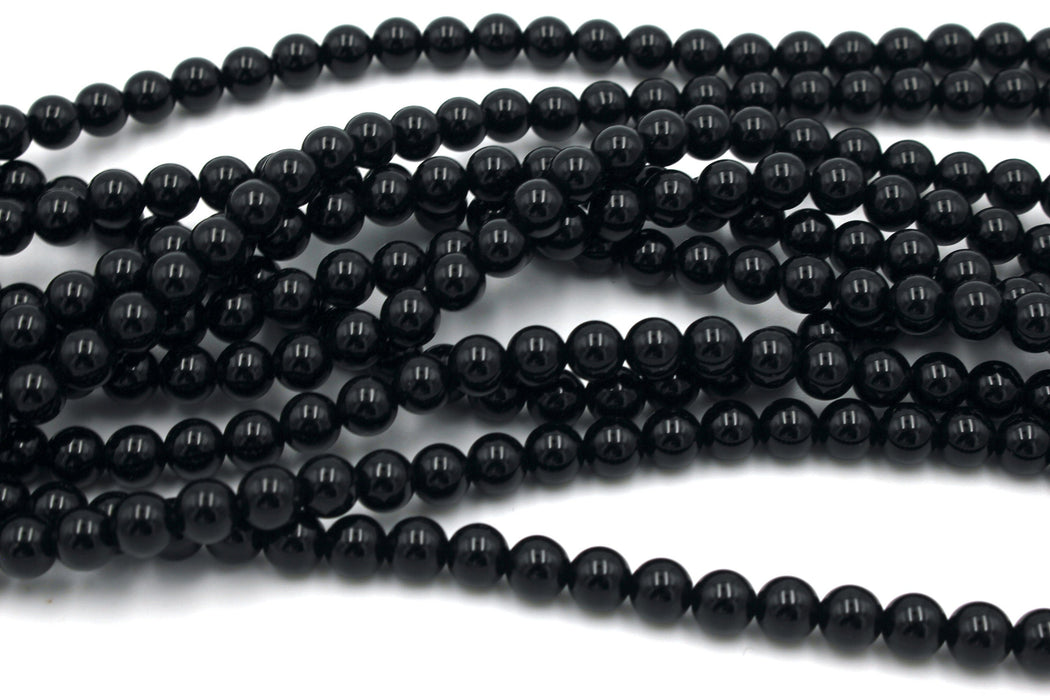 Black Onyx Gemstone Beads, 6mm, Round