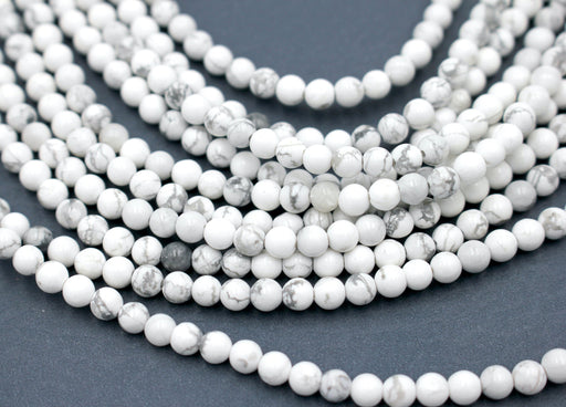 White Howlite Gemstone Beads, 4mm, Round