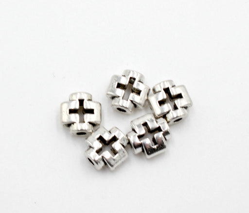 cross beads, antique silver, mixed metal, 8mm x 8mm, hole 1.5mm, sold as 10 pieces.