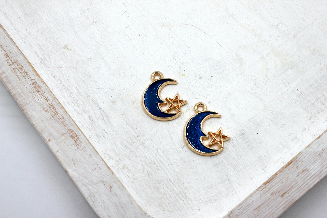 blue enamel half moon galaxy charm, gold plated charms, star charms, blue enamel, mixed metal, 21mm x 15mm, hole 1.5mm, sold as 2 pieces.