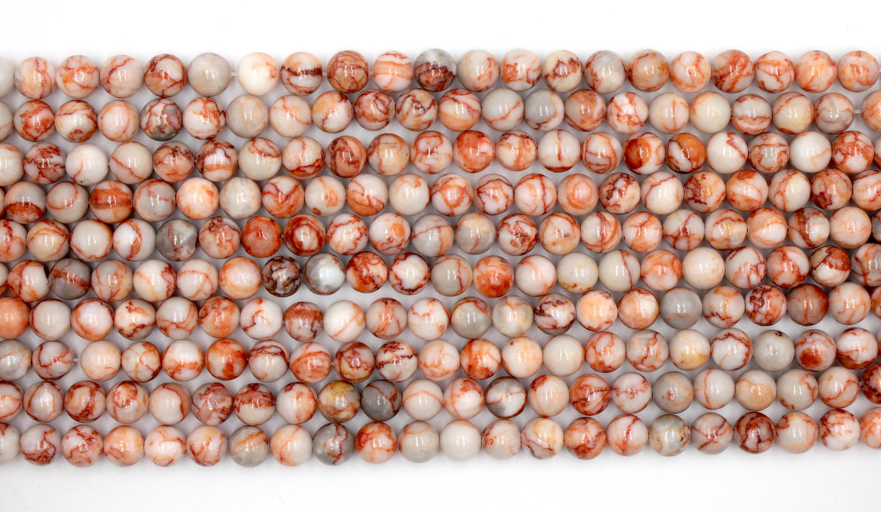 8mm Red Veined Jasper Gemstone Beads