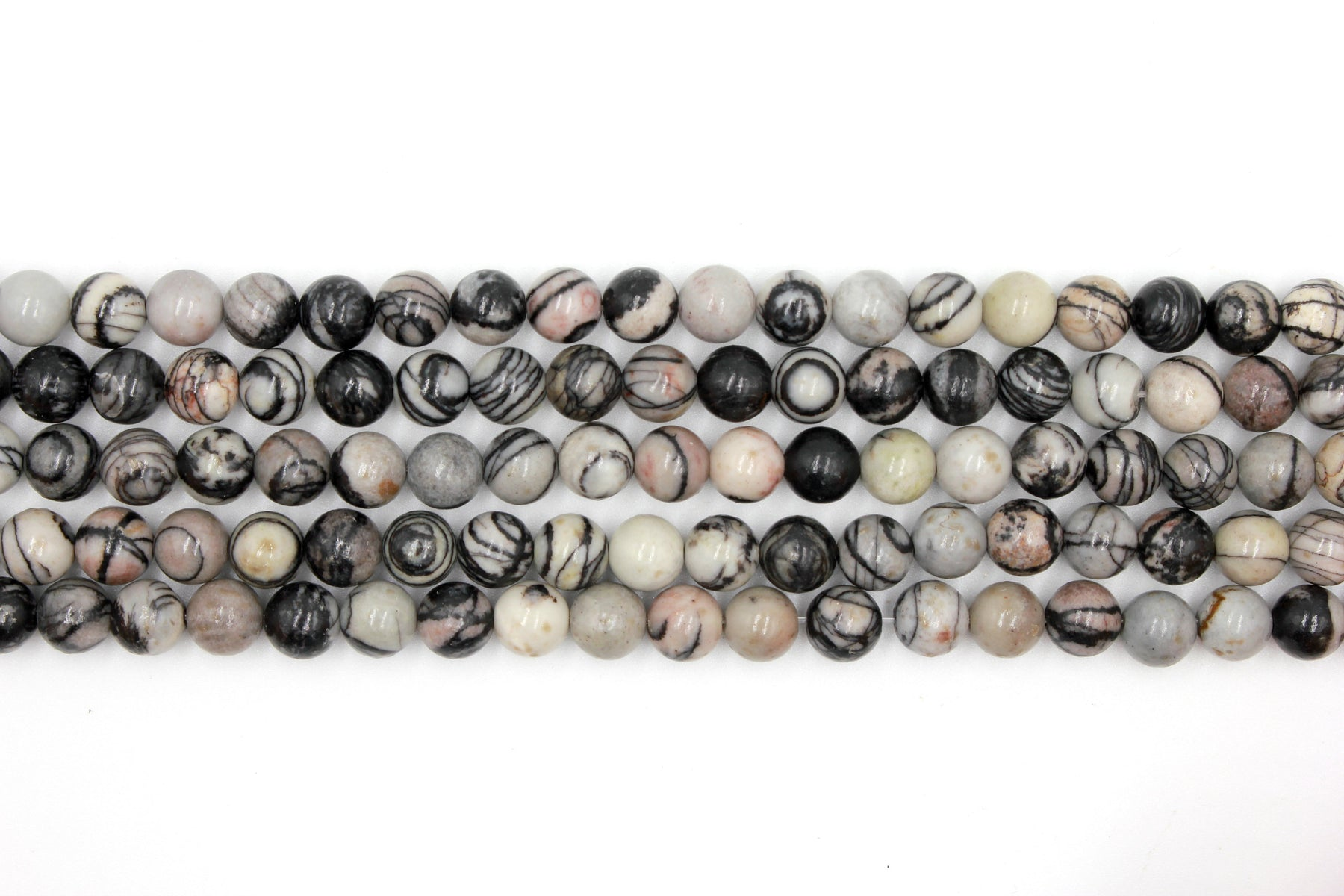 8mm black veined jasper, glossy, 1 strand, 16 inches, approx. 48 beads.