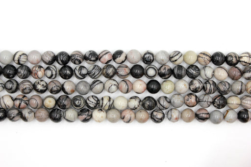 8mm black veined jasper