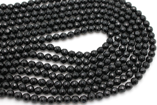 6mm black onyx, faceted, 1 strand, 16 inches, approx. 66 beads.