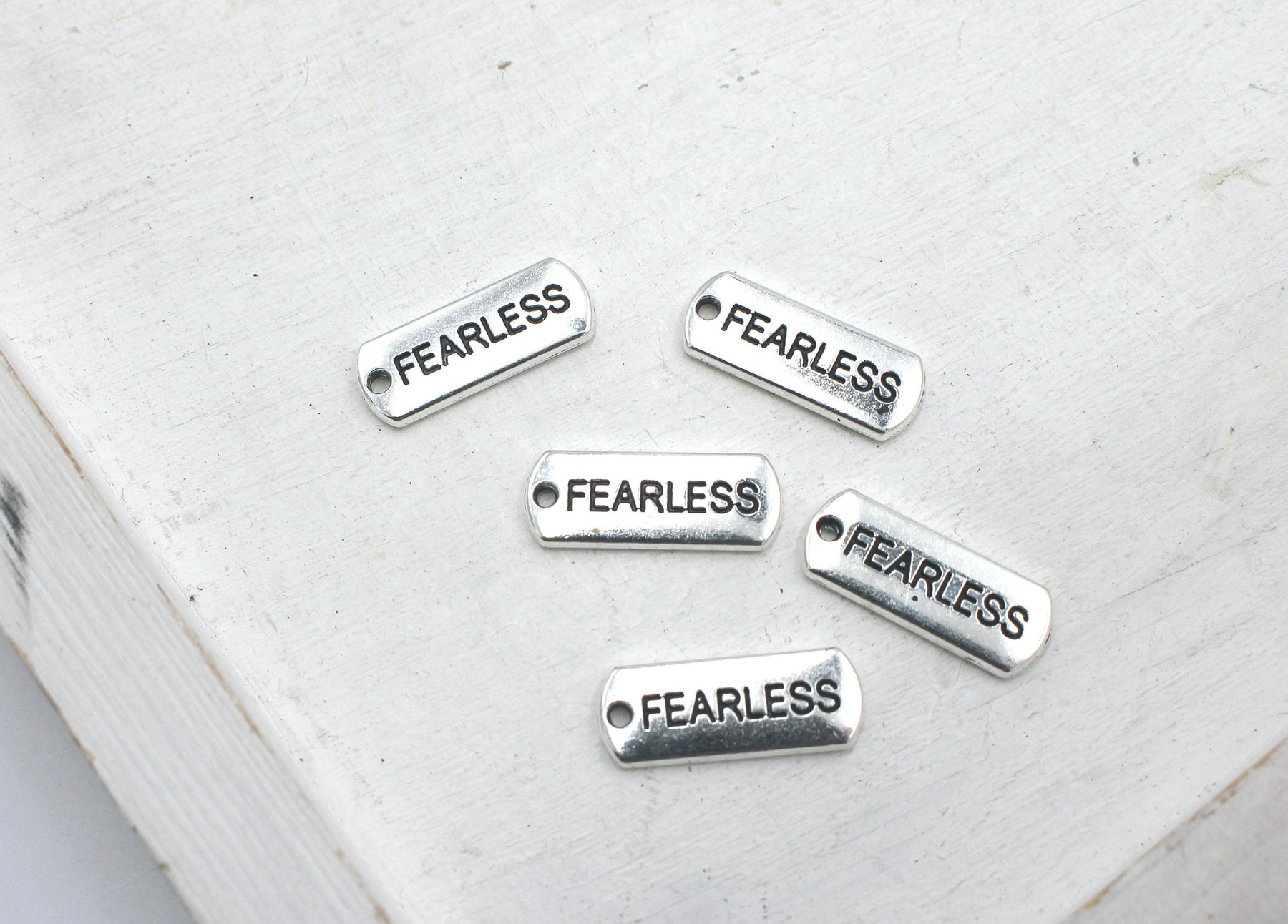 fearless charm, silver charms, rectangle charms, blue enamel, mixed metal, 21mm x 8mm, hole 1.5mm, sold as 5 pieces.