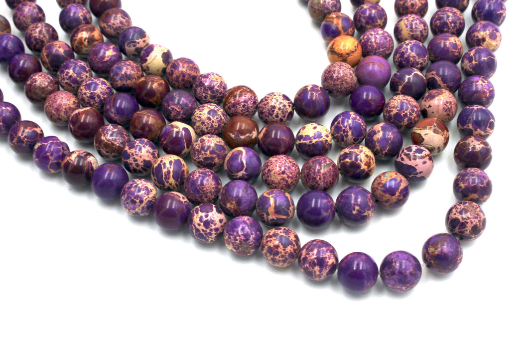 Purple Impression Jasper Gemstone Beads, 8mm, Round