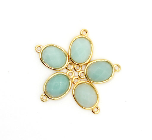 Amazonite Faceted Oval Brass Connector Charm, 10mm × 11mm, faceted oval, gold plated brass charm, sold as 1 charm.
