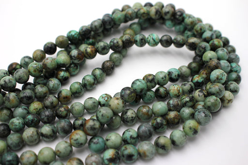 8mm african turquoise, glossy, 1 strand, 16 inches, approx. 48 beads.