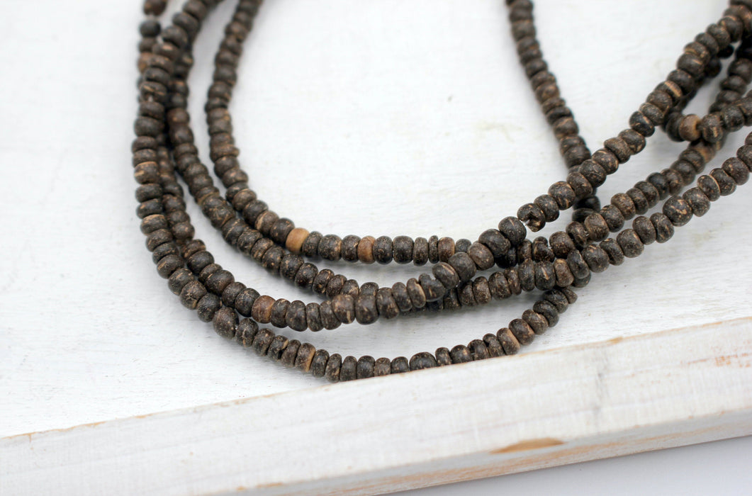 Light Brown Coconut Beads, 4mm, Heishi