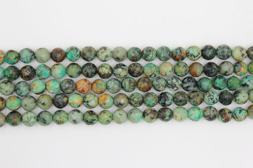 8mm faceted african turquoise, glossy, 1 strand, 16 inches, approx. 48 beads.