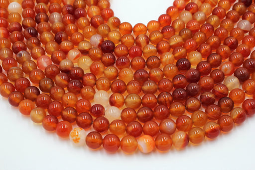 8mm red orange carnelian gemstone beads