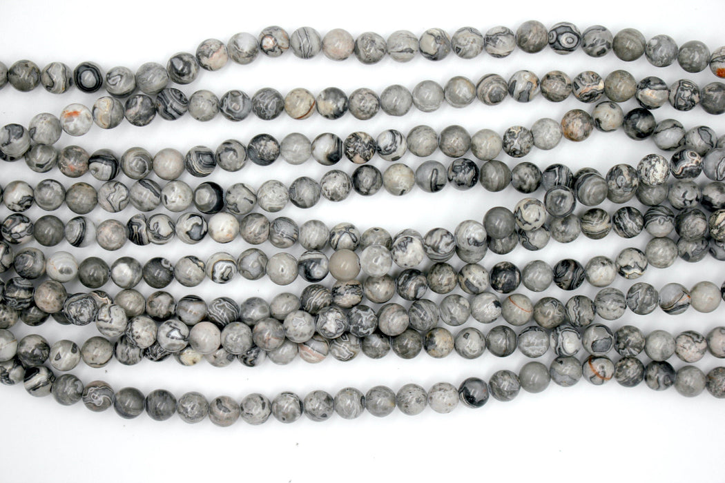 Gray Picture Jasper Gemstone Beads, 6mm, Round