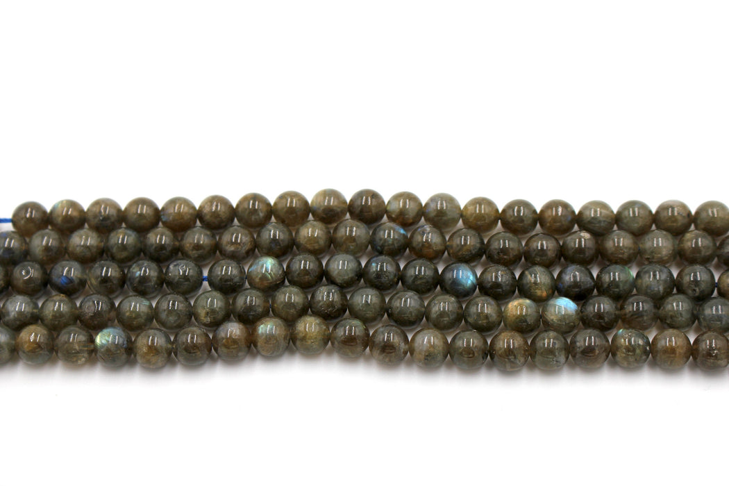 8mm labradorite, glossy, 1 strand, 16 inches, approx. 48 beads.