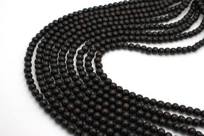 8mm black ebony wood beads, natural ebony wood, 1 strand, 16 inches, approx. 48 beads.
