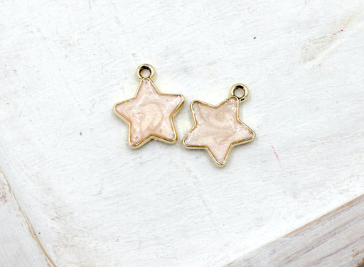gold plated glitter pink star, gold charms, star charms, pink enamel, mixed metal, 17mm x 15mm, hole 1.5mm, sold as 2 pieces.