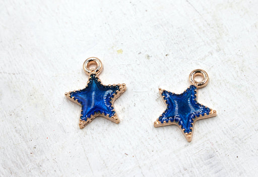 blue enamel galaxy star charm, gold plated charms, star charms, blue enamel, mixed metal, 15mm x 12mm, hole 1.5mm, sold as 2 pieces.