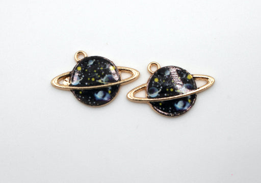 Black Galaxy Planet Charm, gold charms, gold plated, mixed metal, 24mm x 16mm, hole 1.5mm, sold as 2 pieces.
