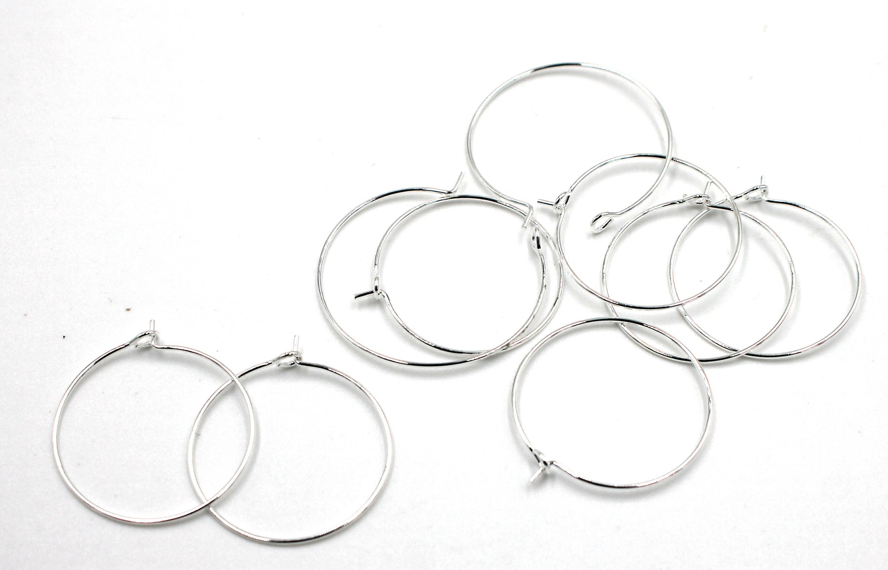 earring hoops, silver plated brass, 25 x 25mm, 20 pieces, silver earrings, ear ring hoops, hoop ear ring,