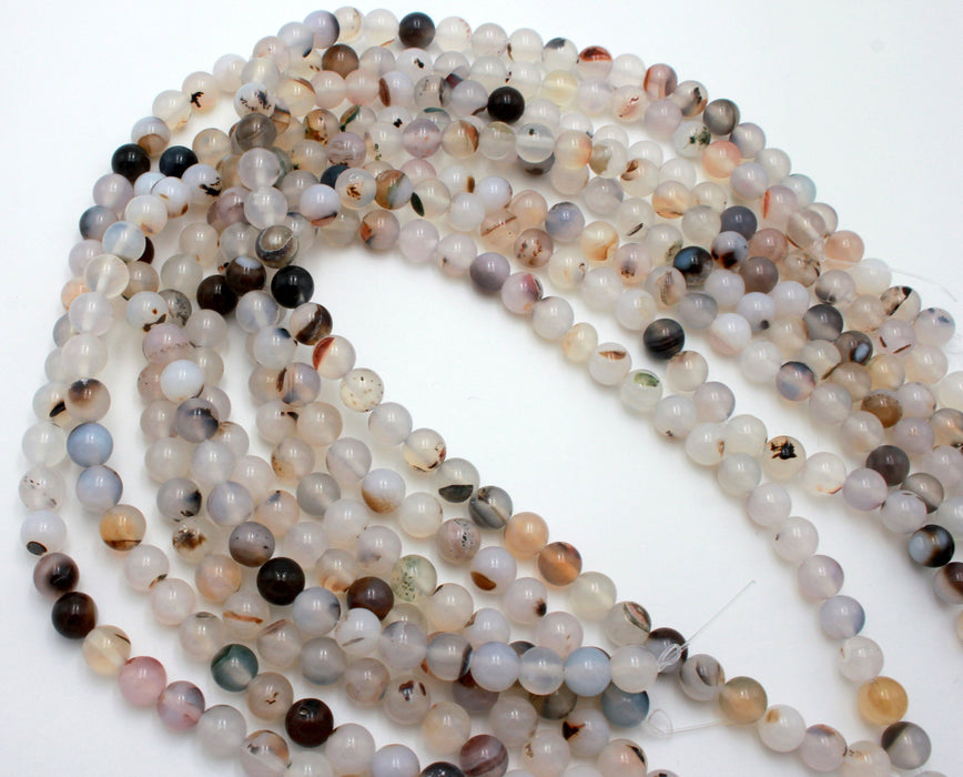 8mm natural agate, glossy, 1 strand, 16 inches, approx. 48 beads.