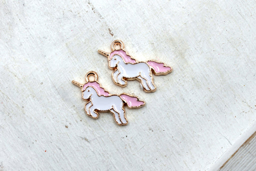 gold plated unicorn charm, gold charms, unicorn charms, pink & white enamel, mixed metal, 22mm x 12mm, hole 1.5mm, sold as 2 pieces.