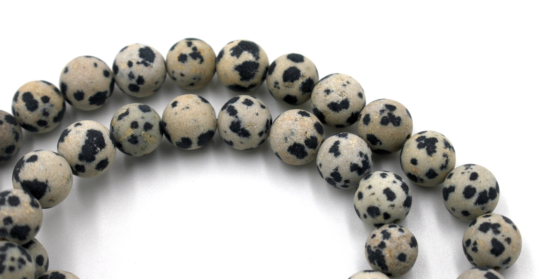 8mm dalmatian jasper, matte, 1 strand, 16 inches, approx. 48 beads.