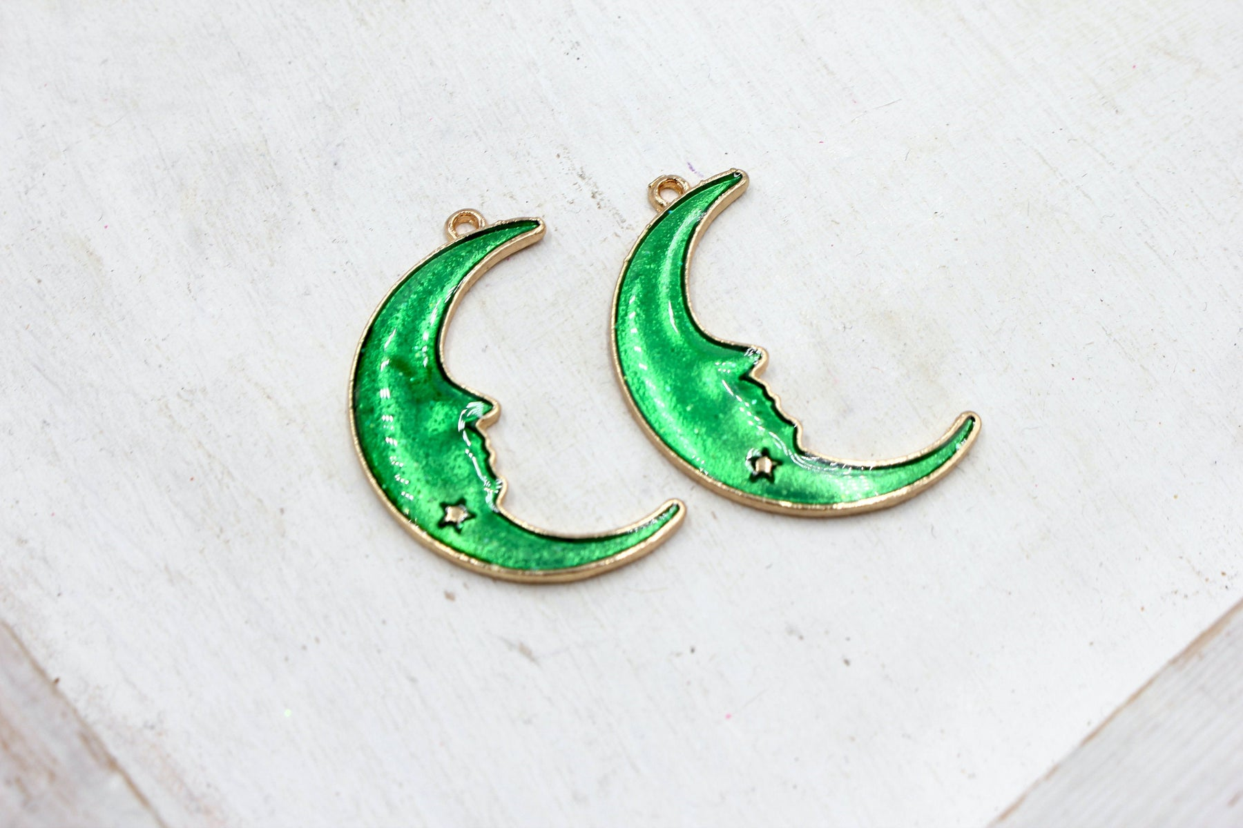 half moon, gold plated charm, moon charms, green enamel, mixed metal, 32mm x 20mm, hole 1.5mm, sold as 2 pieces.