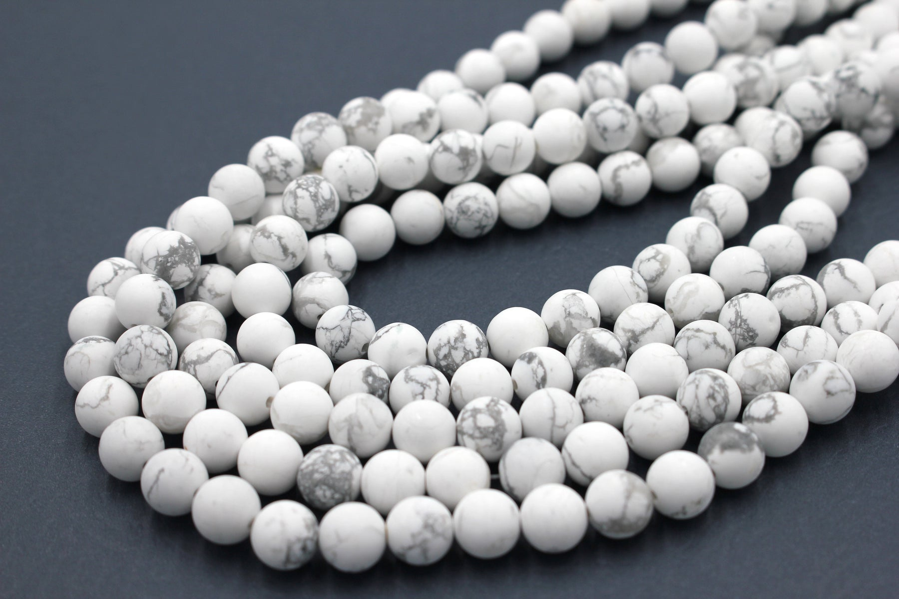 8mm white howlite, matte, 1 strand, 16 inches, approx. 48 beads.