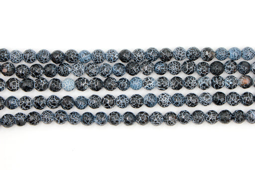 8mm black fire agate, faceted, glossy, 1 strand, 16 inches, approx. 48 beads.