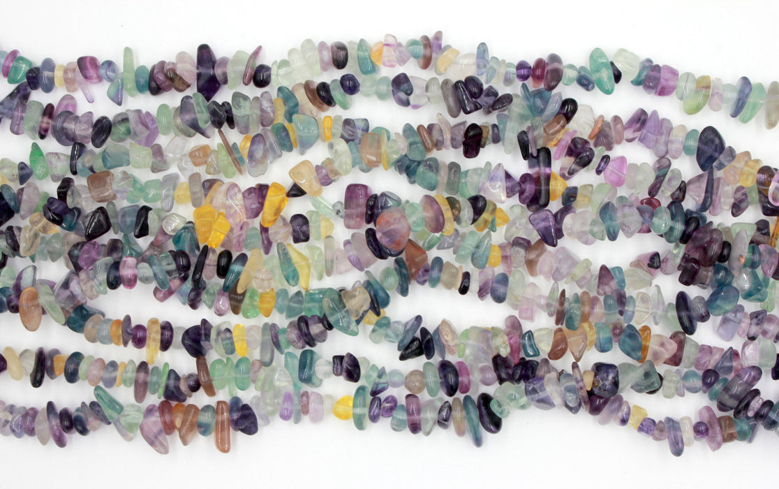 rainbow flourite chip beads