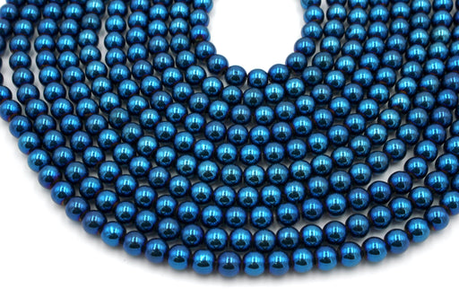 Blue Hematite Gemstone Beads, 6mm, Round