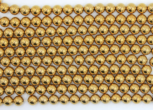 8mm gold hematite gemstone beads