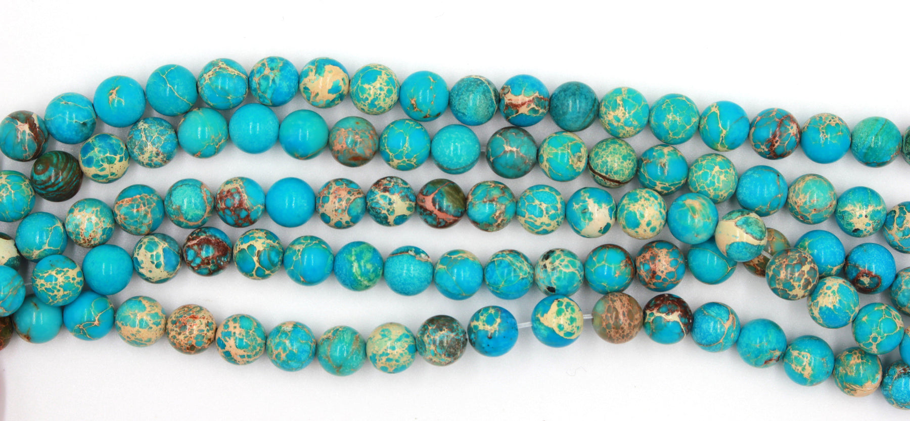 8mm light blue jasper, round, glossy, 1 strand, 16 inches, approx. 48 beads.