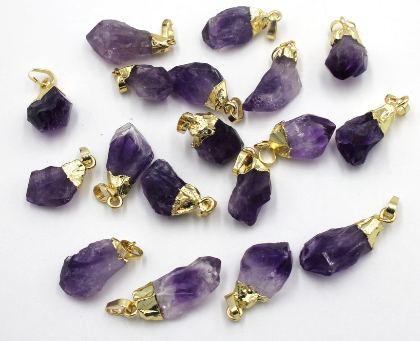 rough amethyst pendant, gold plated pendant, 13-15mm x 20mm, sold as 1 piece, amethyst pendants, rough pendant, nugget pendant,